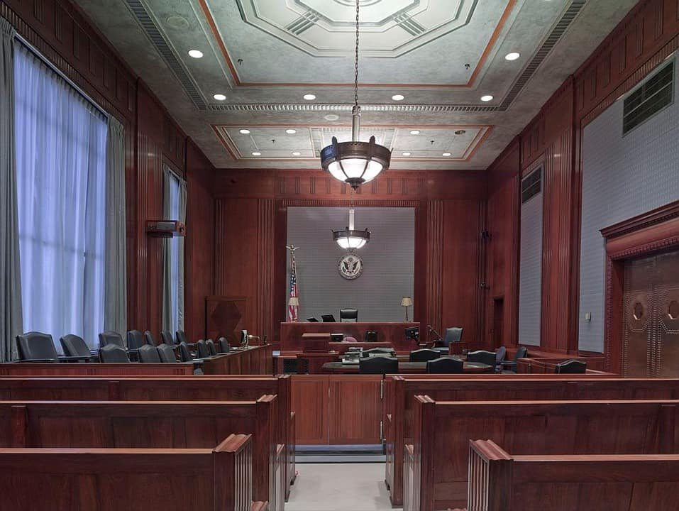 a courtroom where a criminal jury trial is about to take place